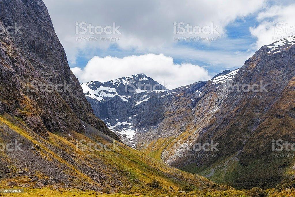 Majestic snow capped Darran Mountains, Fiordland, New Zealand stock photo