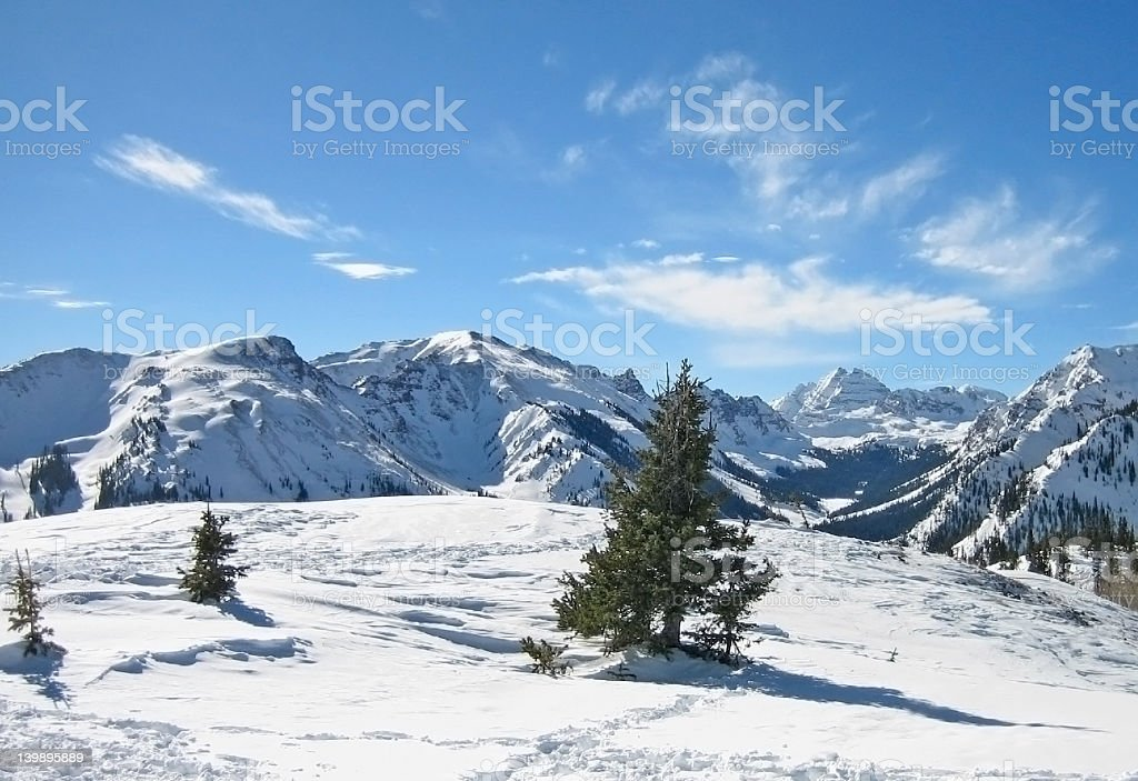 Majestic snowy mountain landscape with a few trees royalty-free stock photo