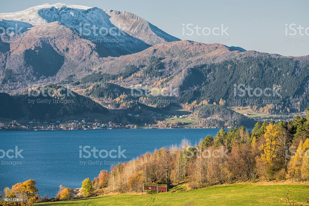 Majestic sognefjord in autumn sunlight, Norway stock photo