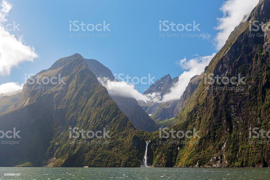 Majestic Stirling Falls, Milford Sound, Fiordland, New Zealand stock photo