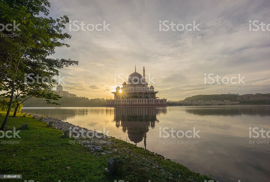 Majestic Sunrise at Putra Mosque, Putrajaya Malaysia stock photo