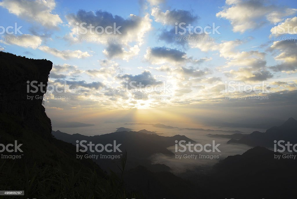 Majestic sunrise in the mountains,Northern- Thailand royalty-free stock photo