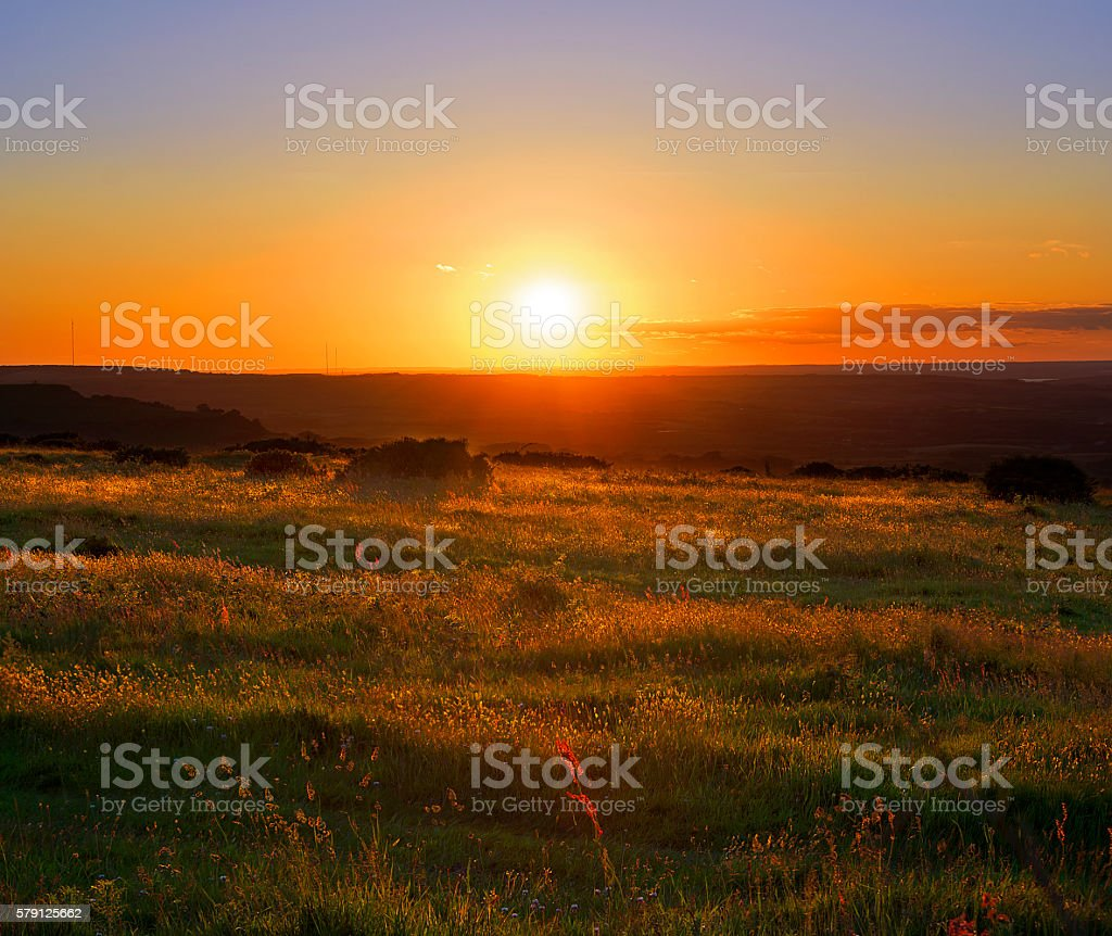 Majestic Sunset and Grassland - HDR stock photo