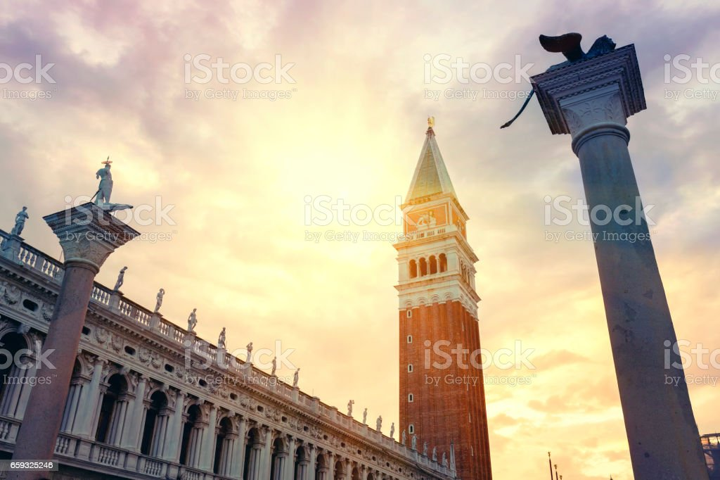 Majestic sunset at St Mark's Square in Venice stock photo