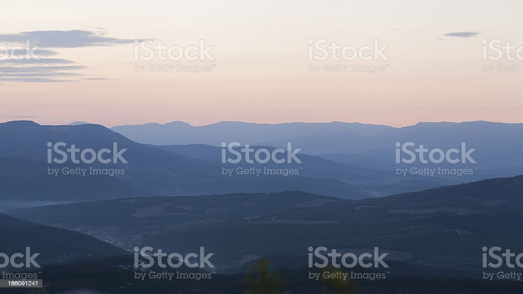 Majestic sunset in the mountains landscape. Crimea, Ukraine royalty-free stock photo