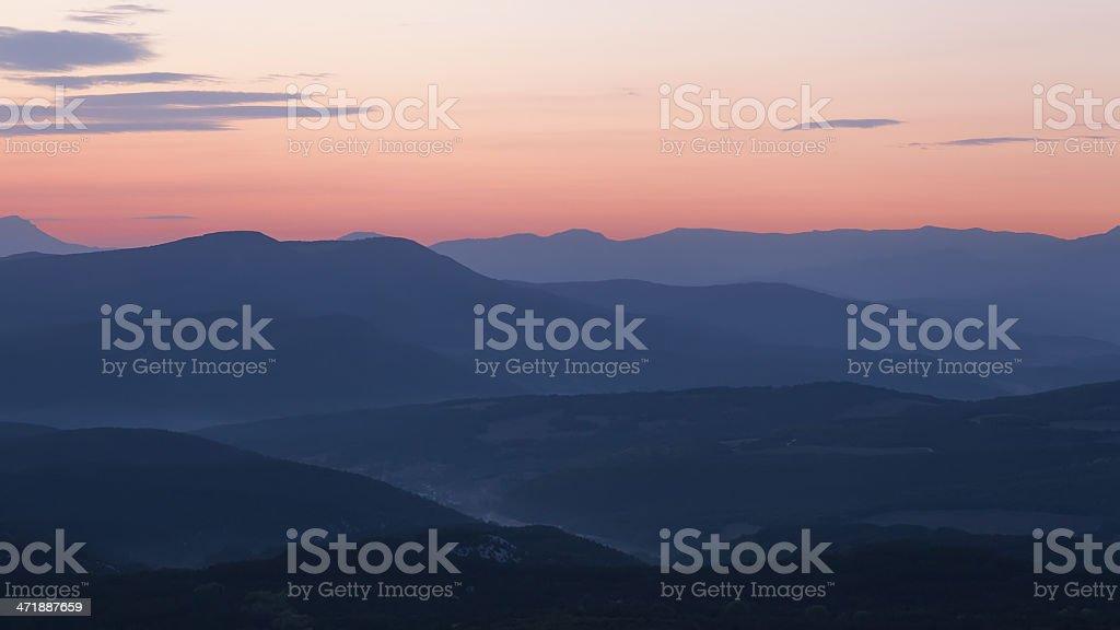 Majestic sunset in the mountains landscape. Crimea, Ukraine royalty-free stock photo
