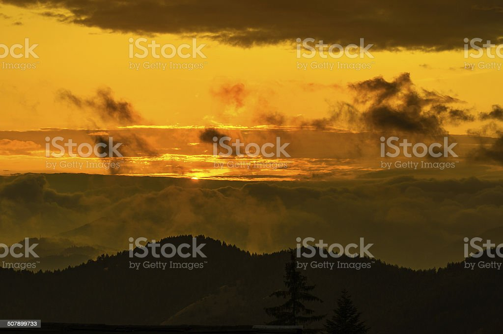 Majestic  sunset in the mountains of Western Serbia royalty-free stock photo
