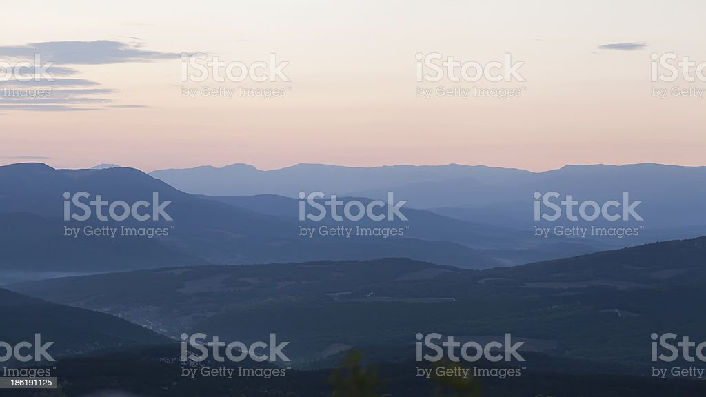 Majestic sunset in the mountains royalty-free stock photo