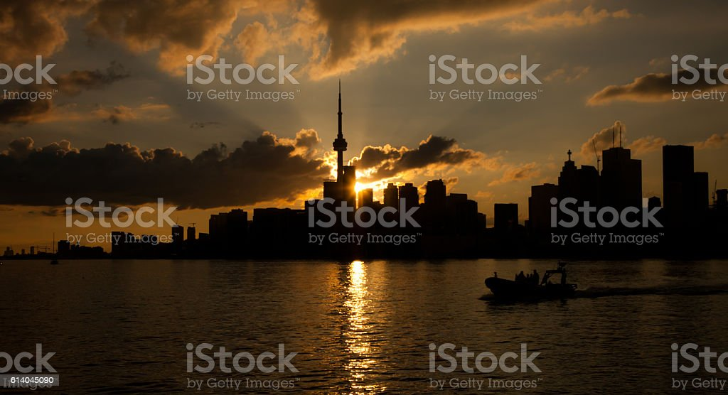 Majestic sunset over a city. stock photo