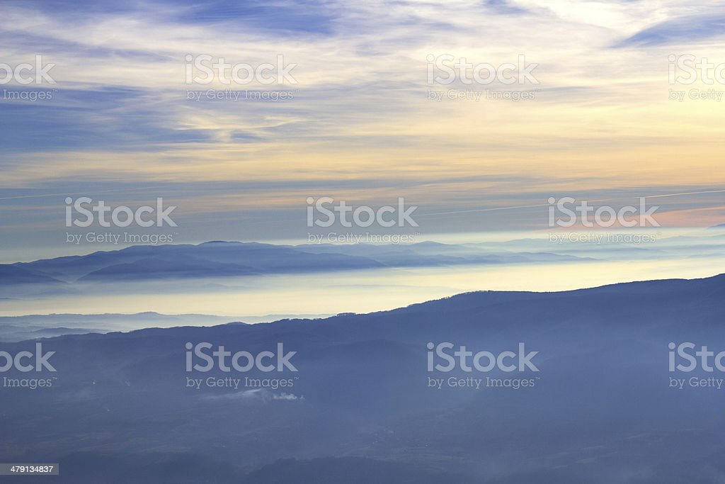 majestic sunset over hills royalty-free stock photo