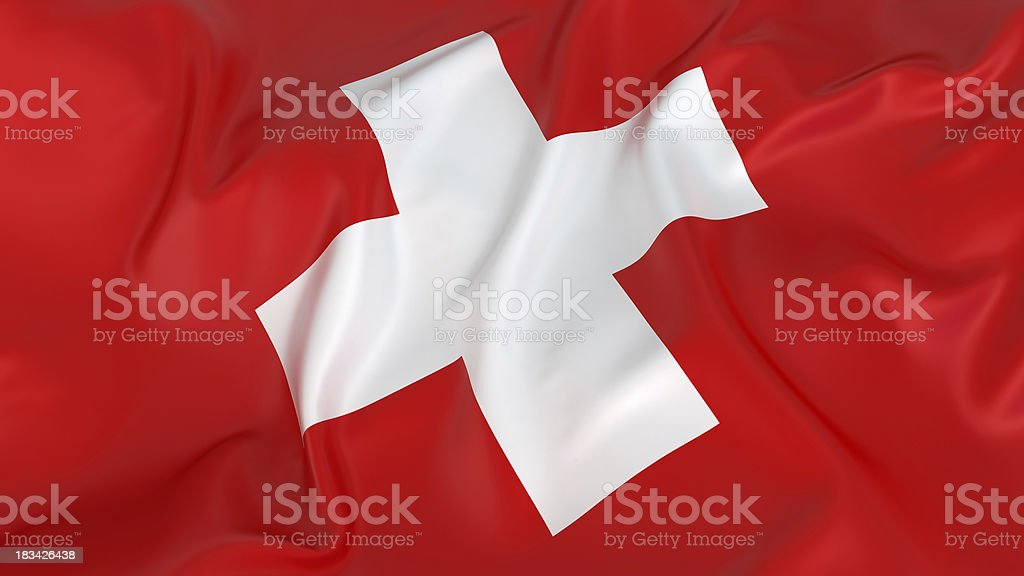 Majestic Switzerland Flag royalty-free stock photo