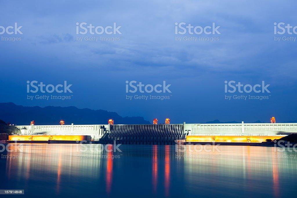 majestic three gorges dam all light on stock photo
