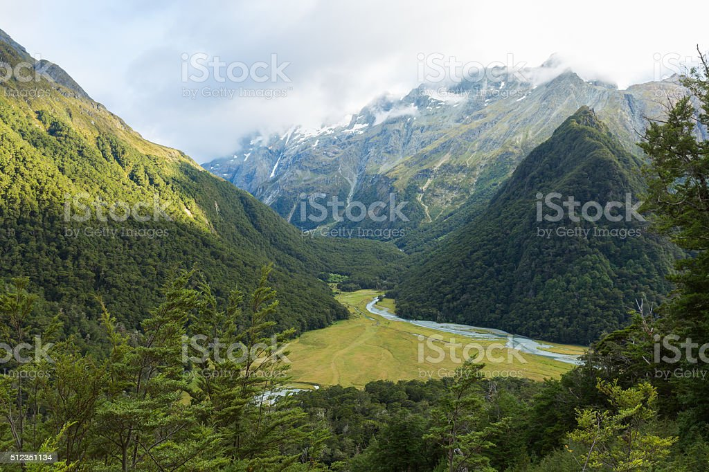 majestic view down into Routeburn Flats stock photo