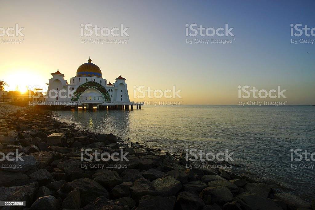 Majestic view of Malacca Straits Mosque during sunset With copys stock photo
