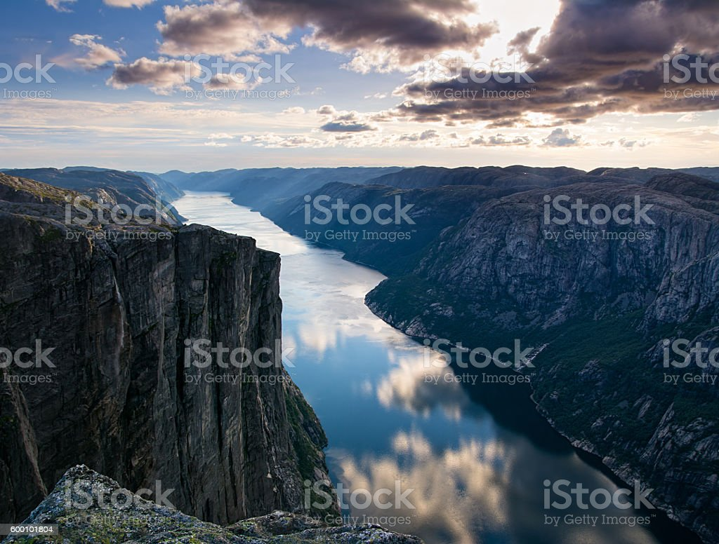 Majestic view of the Lysefjorden, with mountains on the sunset. stock photo