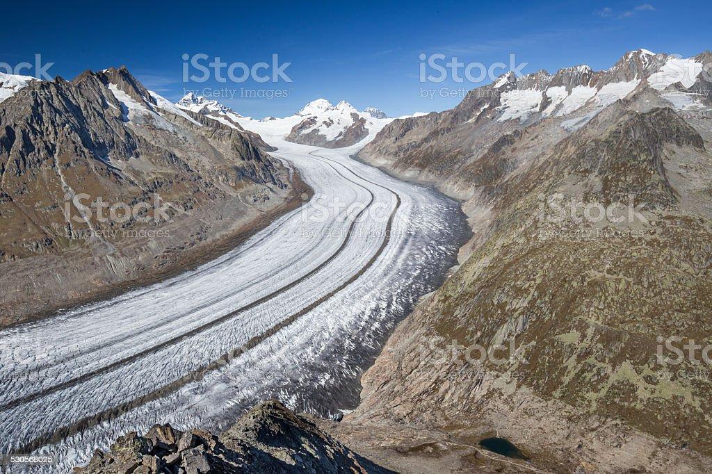 Majestic view to Aletsch glacier in Swiss Alps stock photo