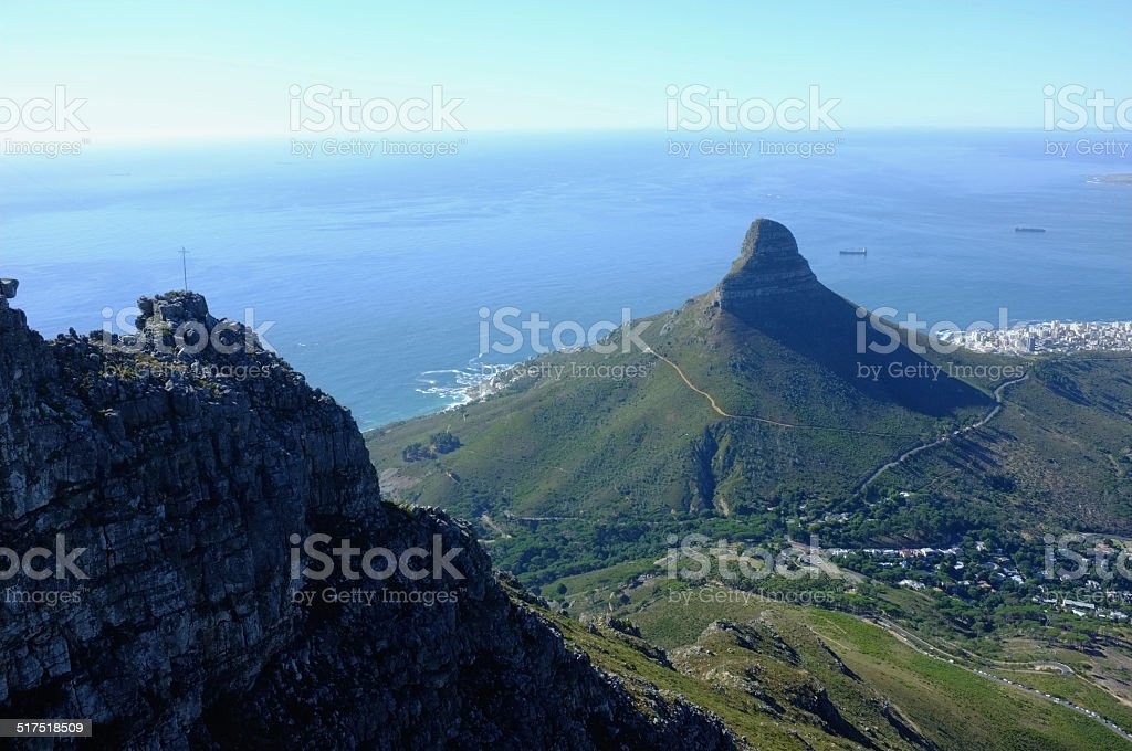 Majestic Views of Lions Head, Robben Island and Camps Bay. stock photo