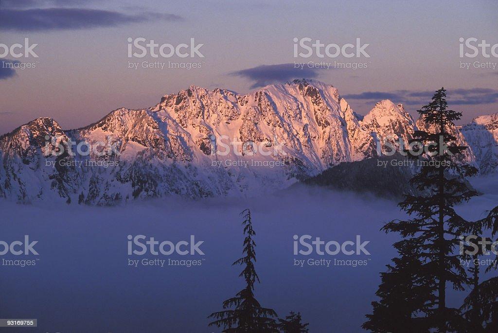 Majestic winter mountain landscape stock photo