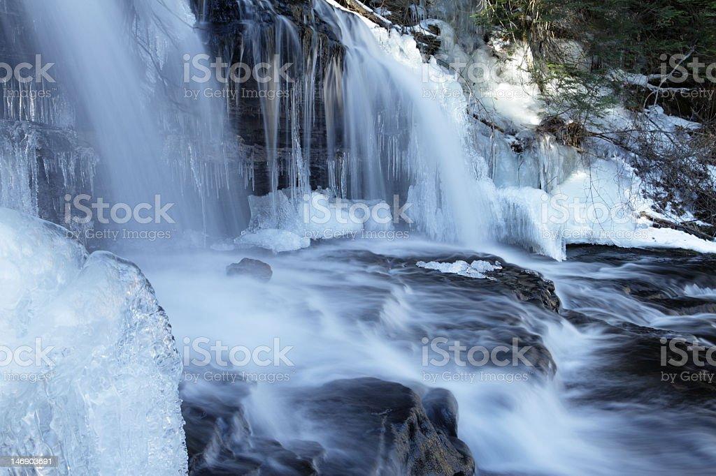 Majestic Winter Wilderness Waterfall royalty-free stock photo