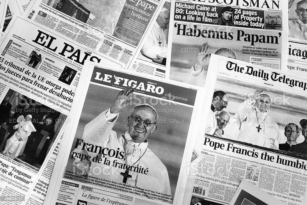 major european cover newspapers after Pope election royalty-free stock photo