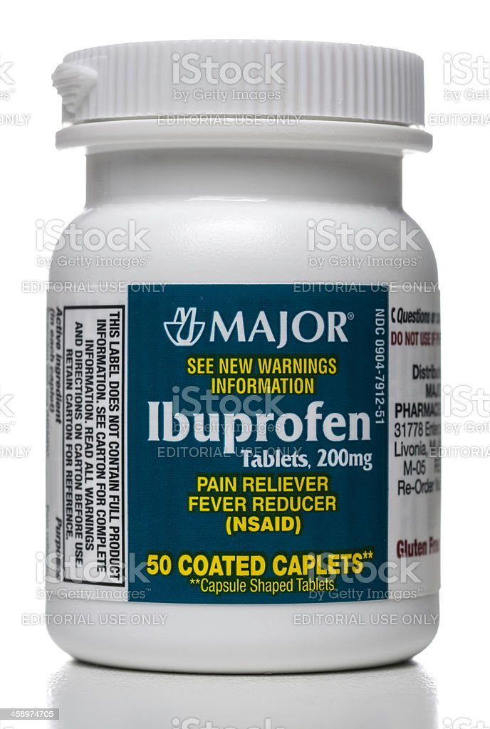 Major ibuprofen tablets jar stock photo