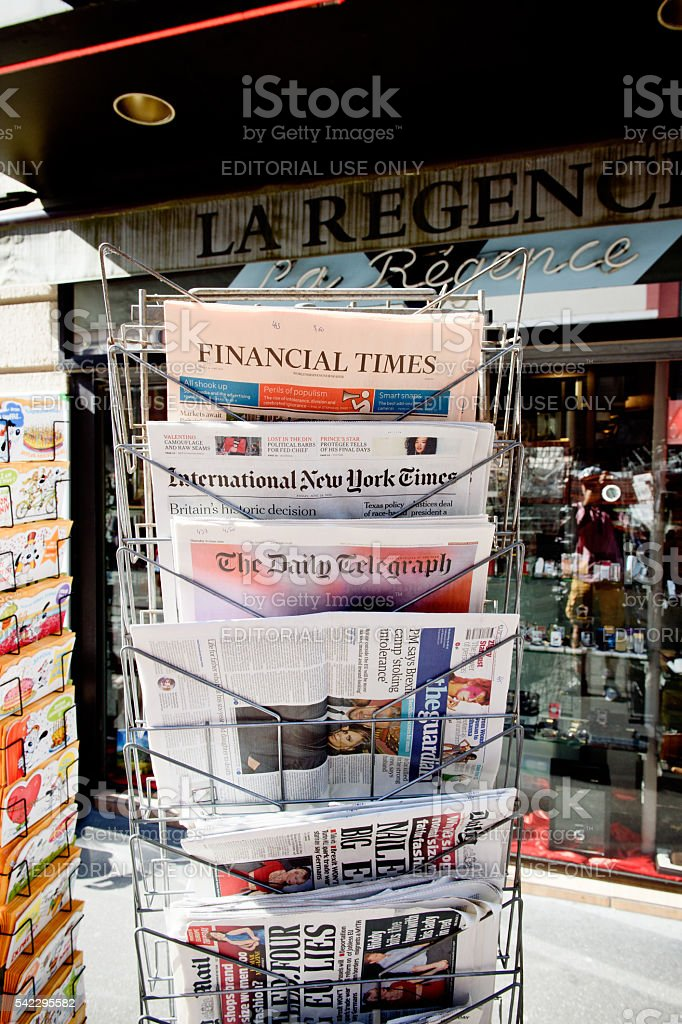 Major International magazines newspapper headline titles about b stock photo