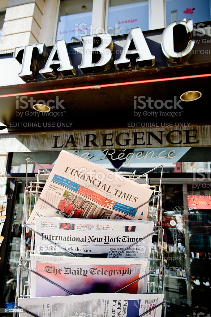 Major International magazines newspapper headline titles about b stock photo