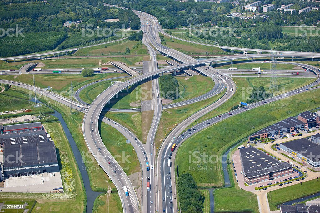 Major intersection with multiple overpasses royalty-free stock photo