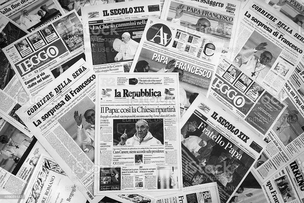 major Italian cover newspapers after Pope election royalty-free stock photo