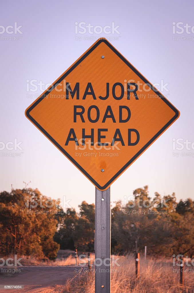 Major road ahead warning Australian sign Give Way concept stock photo