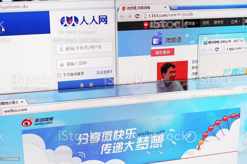 Major Social Networking Websites in China stock photo