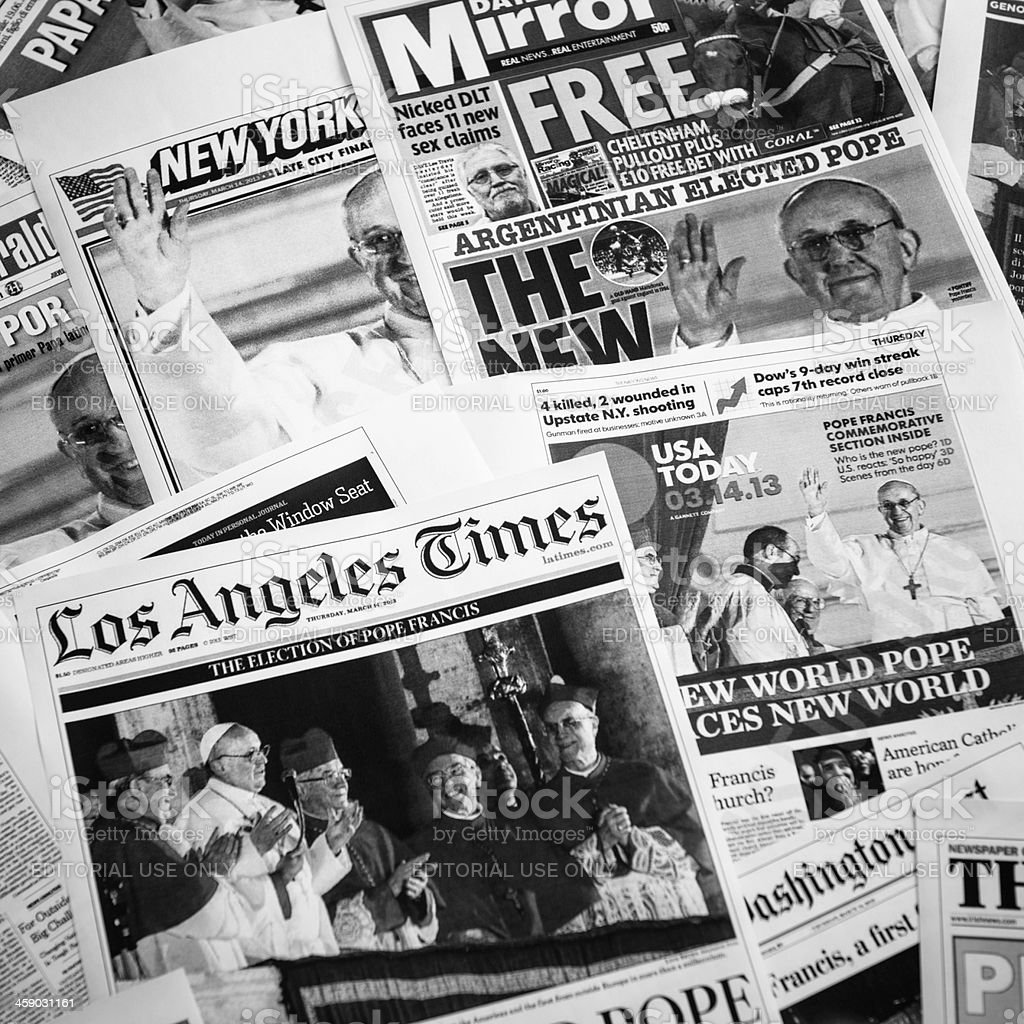 major US cover newspapers after Pope election royalty-free stock photo