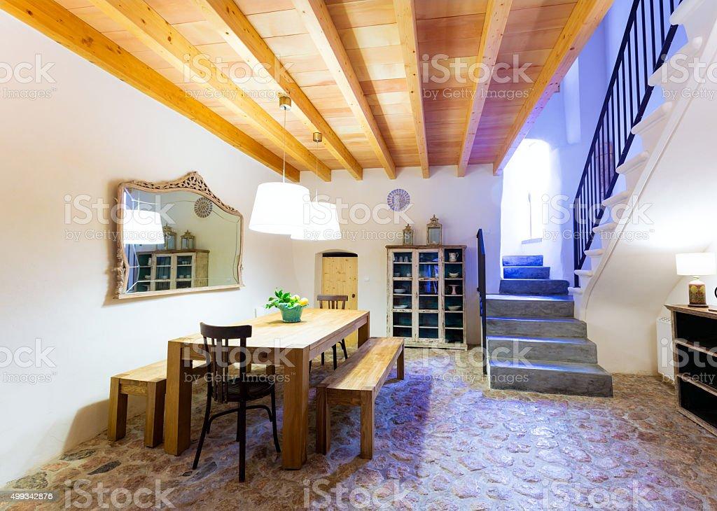 Majorca Balearic indoor house in  Mediterranean style stock photo
