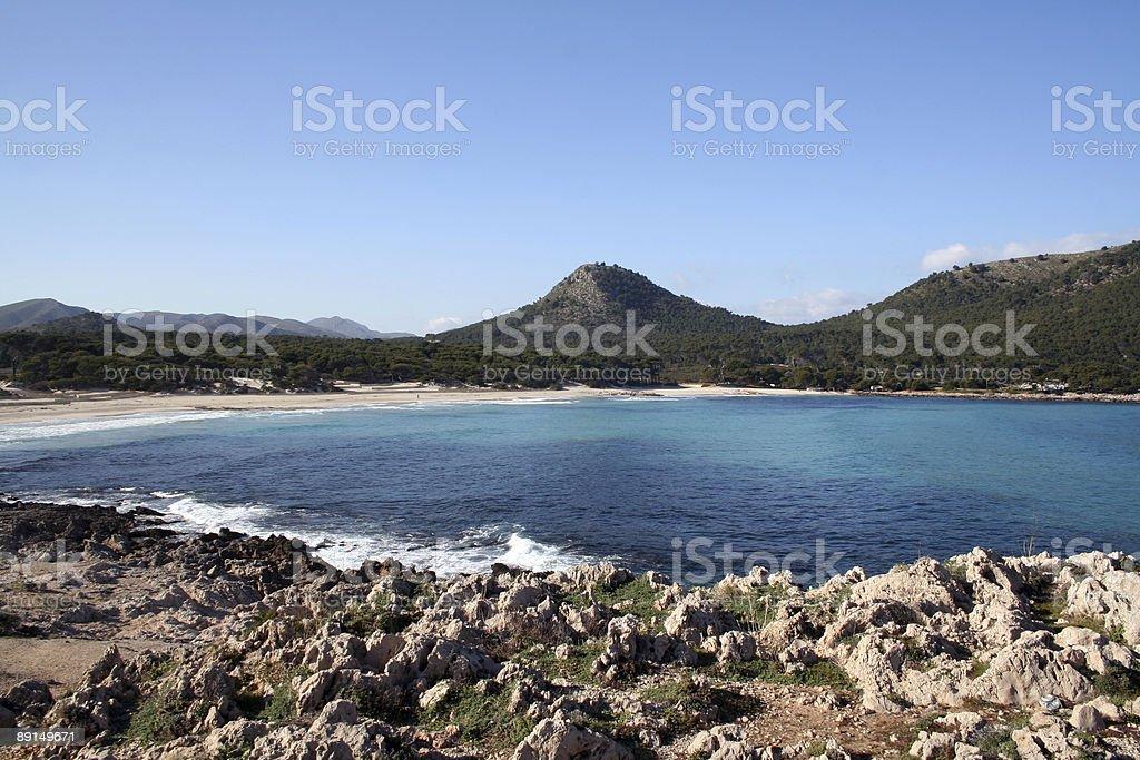 Majorca: Cala Agulla Bay in winter stock photo