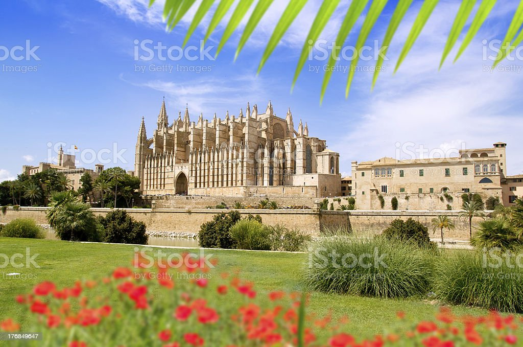 Majorca Cathedral and Almudaina from red flowers garden royalty-free stock photo