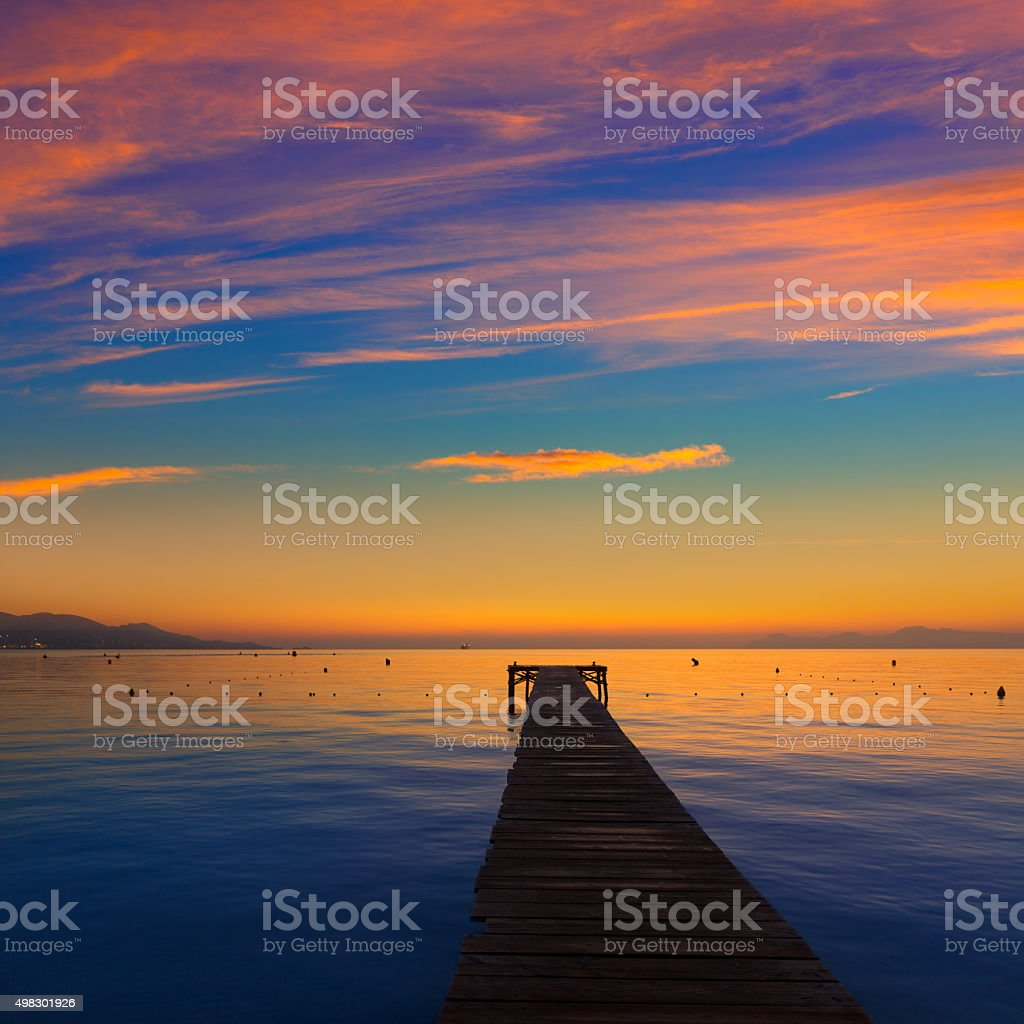 Majorca Muro beach sunrise Alcudia Bay Mallorca stock photo