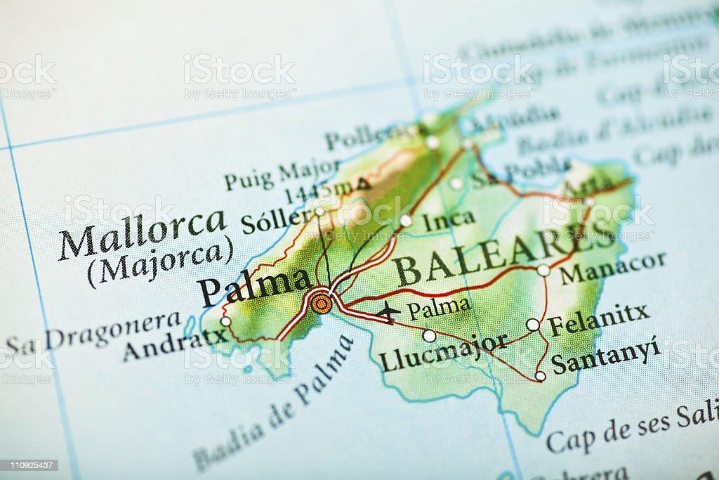 Majorca, Spain map royalty-free stock photo