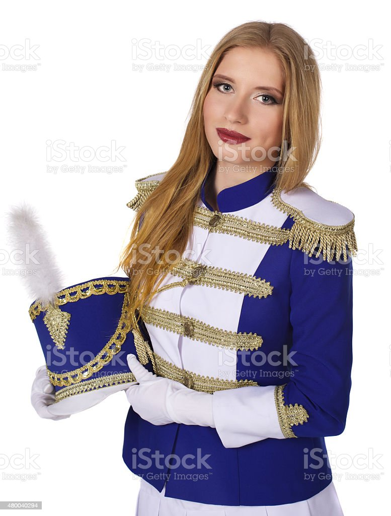 majorette drummer isolated on white background stock photo