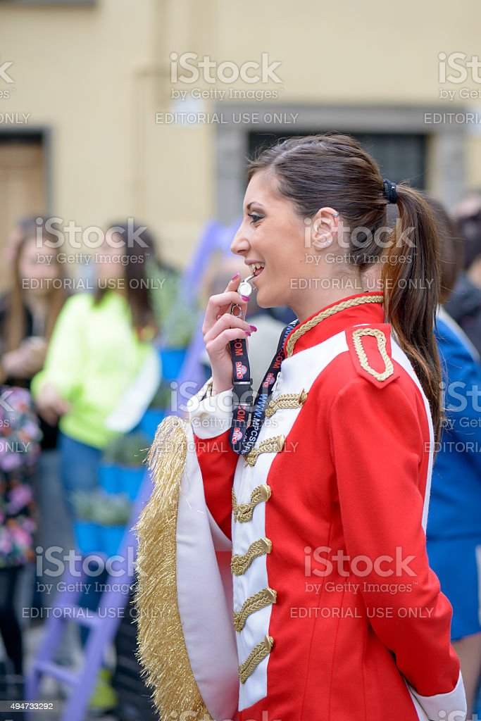 majorette ready to whistle stock photo