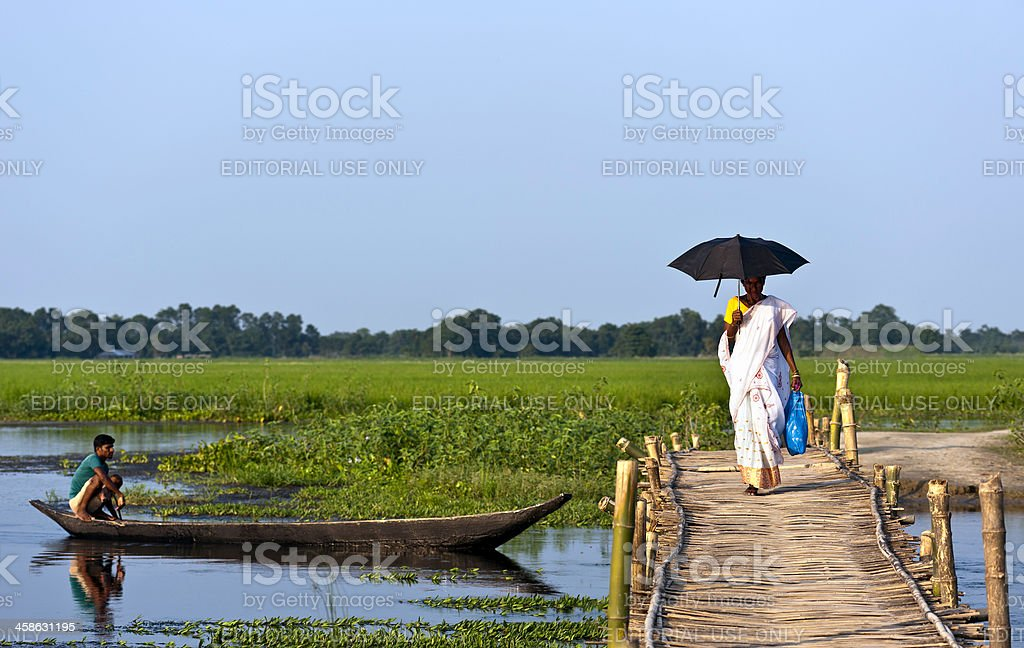 Majuli, woman crossing bamboo bridge, Assam, India stock photo