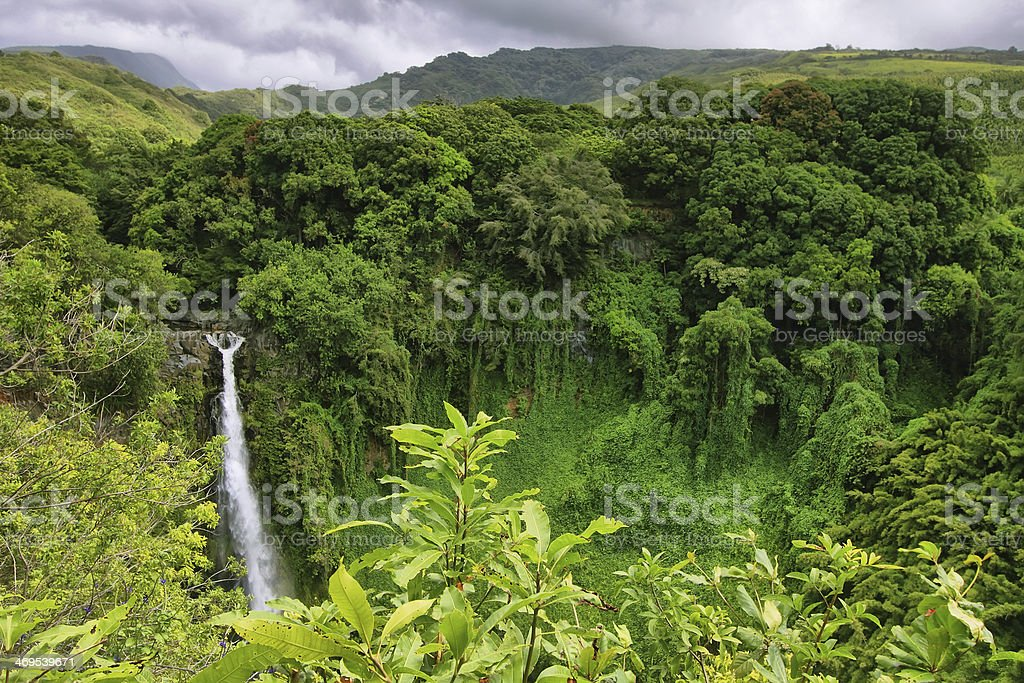 Makahiku falls stock photo