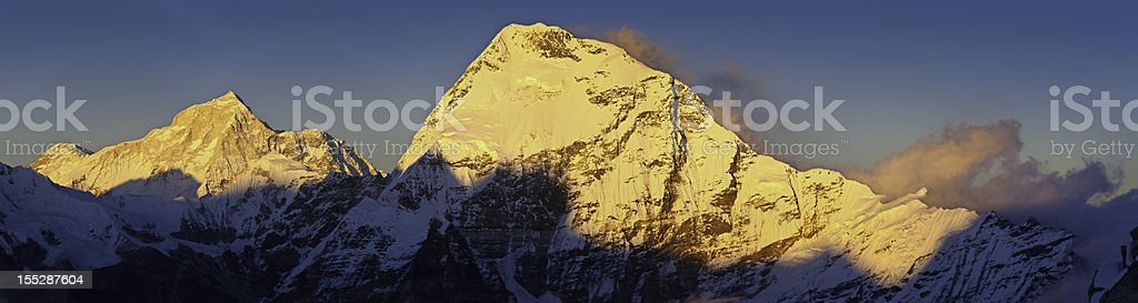 Makalu 8481m and Chamlang 7319m sunset summits Himalayas Nepal royalty-free stock photo