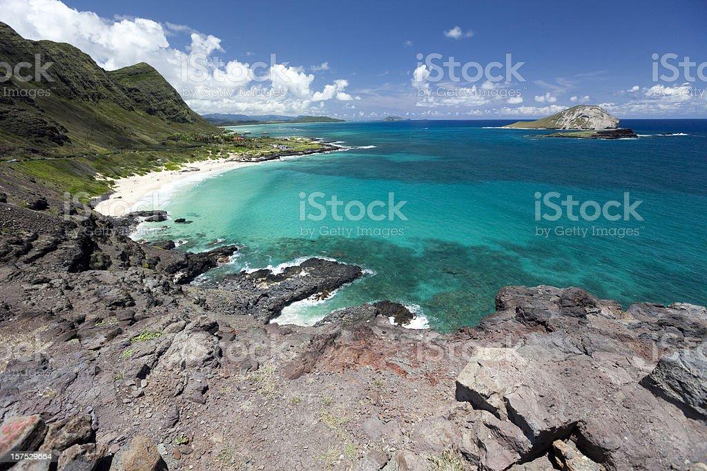 Makapuu beach and Rabbit island stock photo