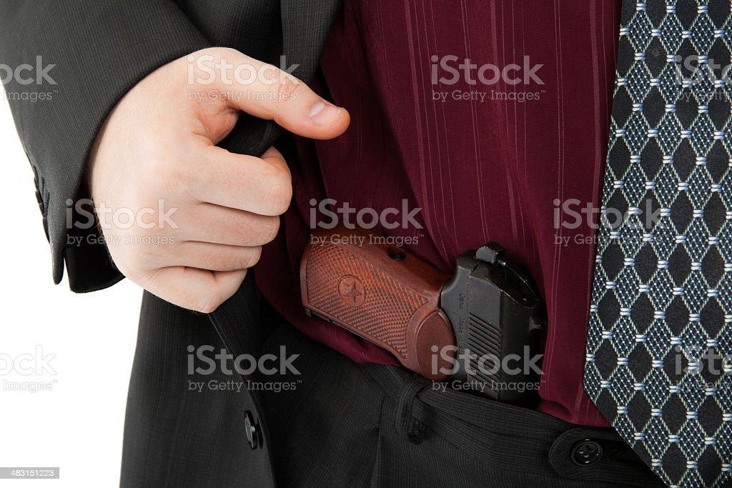 Makarov pistol in his pants royalty-free stock photo