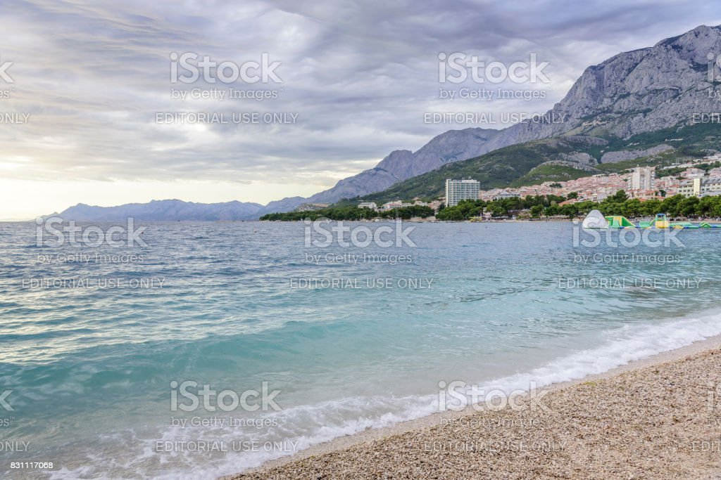 Makarska Beach, and views of the city in the evening stock photo