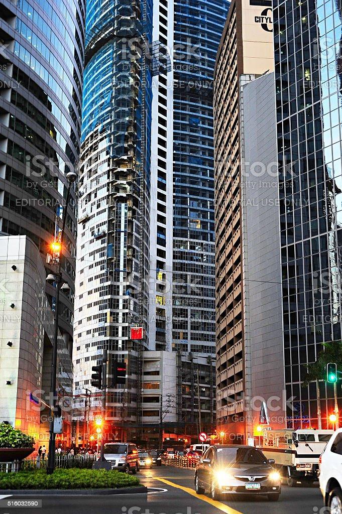 Makati business downtown, Manila stock photo