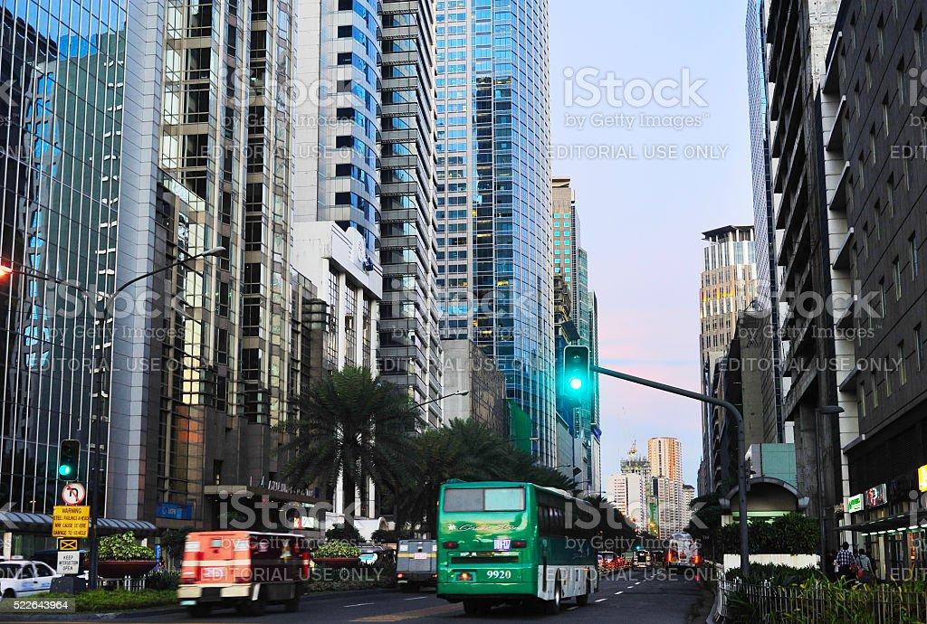 Makati city, downtown of Manila stock photo
