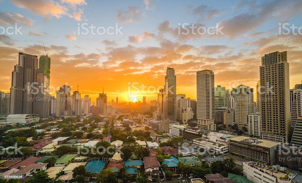 Makati City during sunset stock photo