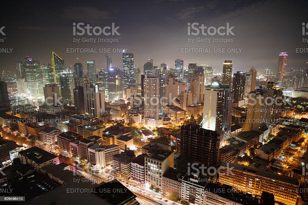 Makati city skyline nightview stock photo