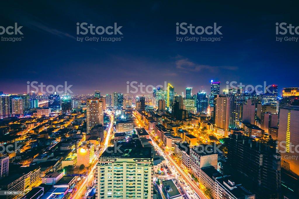 Makati skyline in Metro Manila, Philippines stock photo
